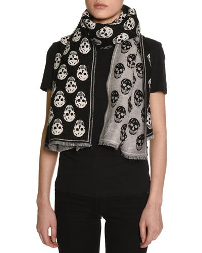 Clashy Skulls Wool Scarf, Black/White