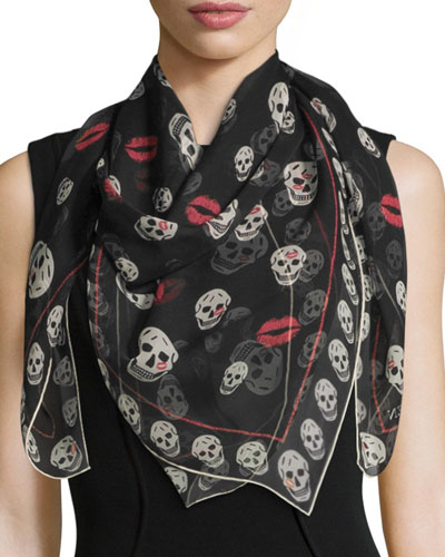 Skulls & Kisses Silk Scarf, Black/Ivory