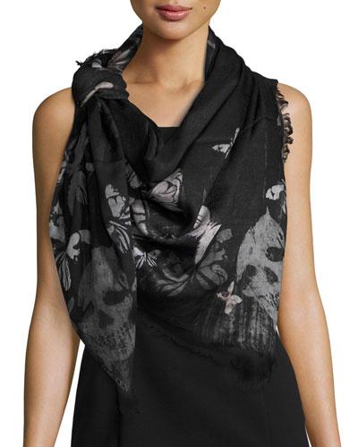 Bleached Butterfly & Skulls Modal/Silk Scarf, Black/Gray