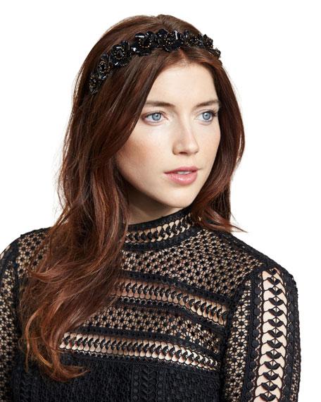 Jennifer Behr Faye Floral Enamel-Coated Hair Circlet, Jet/Gold
