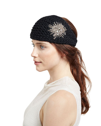 Embellished Wool Starburst Headband, Black