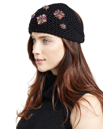 Embellished Wool Snowdrop Headband, Black/Purple