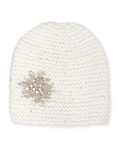 Embellished Starburst Beanie Hat, Snow