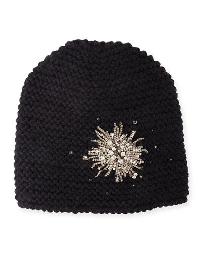 Embellished Starburst Beanie Hat, Black