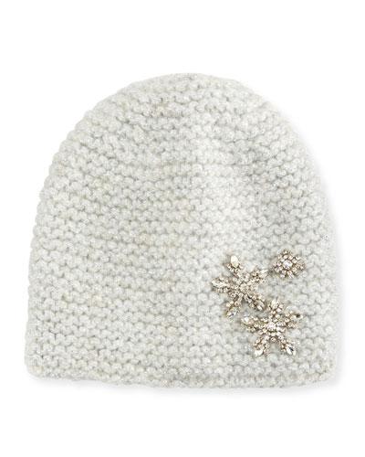 Metallic Snowflake Beanie Hat, Snow Sparkle