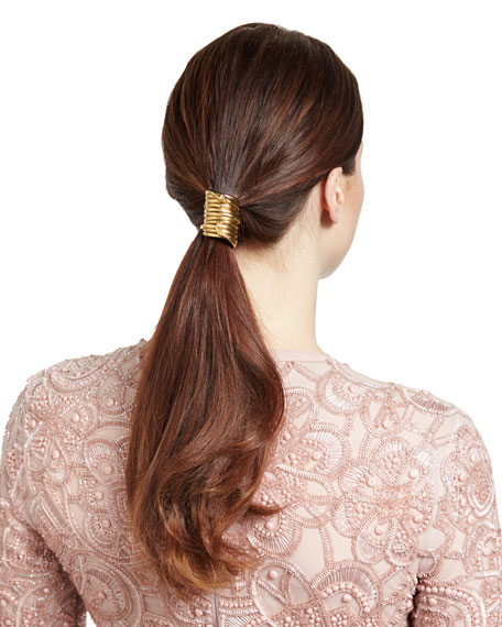 Medusa Brass Snake Ponytail Wrap, Gold