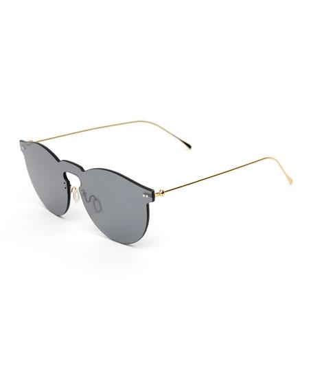 Illesteva Rimless Mirrored Sunglasses, Gray