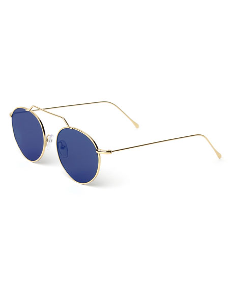 Wynwood Round Stainless Steel Sunglasses, Gold/Blue