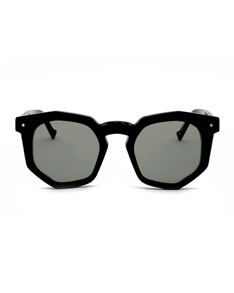 Composite Geometric Sunglasses, Black