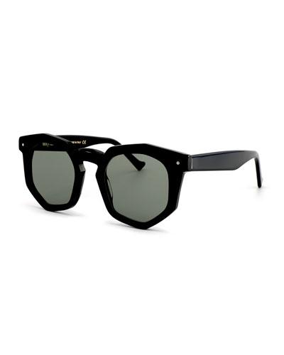 Composite Geometric Sunglasses, Black
