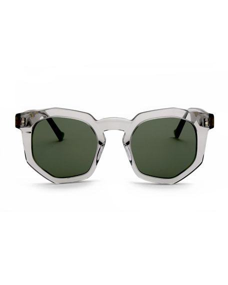 Composite Geometric Sunglasses, Light Gray