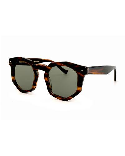 Composite Geometric Sunglasses, Tiger Tortoise