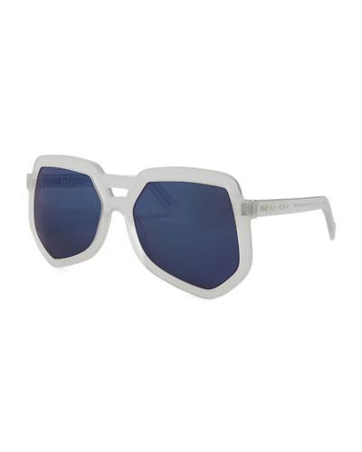 Clip Acetate Aviator Sunglasses, Clear