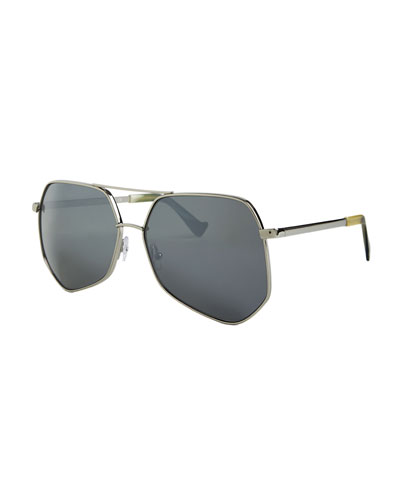Megalast II Oversized Aviator Sunglasses, Silver