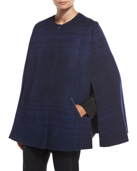Plaid Cashmere Shorty Cape, Blue/Gray