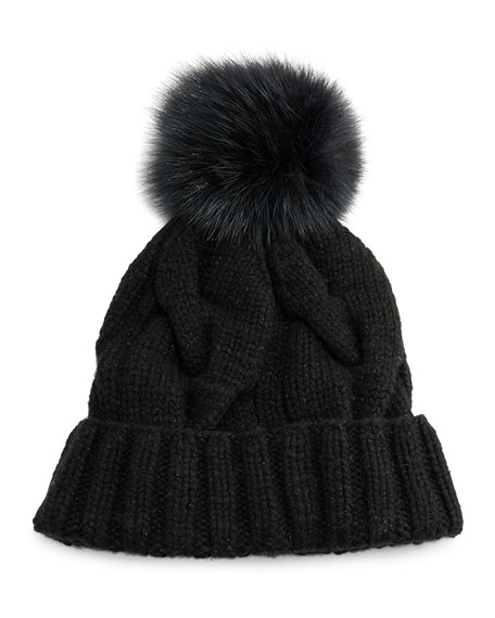 Loro Piana Baby Cashmere® Courchevel Beanie Hat, Black
