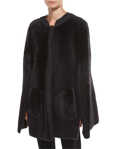 Shearling Fur Shorty Cape, Dark Gray