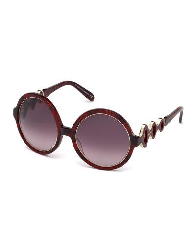 Waved Gradient Round Sunglasses, Red