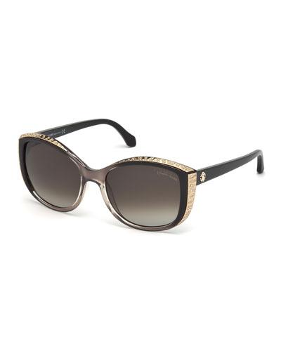 Yed Metal-Trim Butterfly Sunglasses, Brown/Black