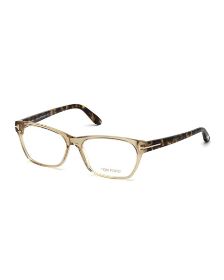 Two-Tone Square Optical Frames, Champagne