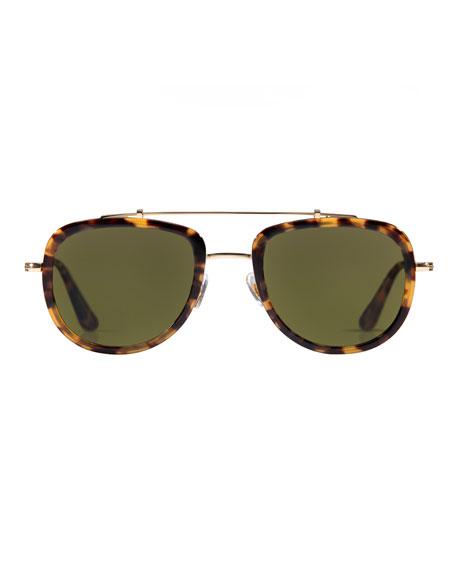 Laveau Polarized Aviator Sunglasses, Blond Tortoise