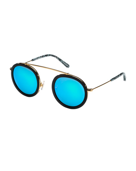 KREWE Conti Mirrored Round Aviator Sunglasses, Black