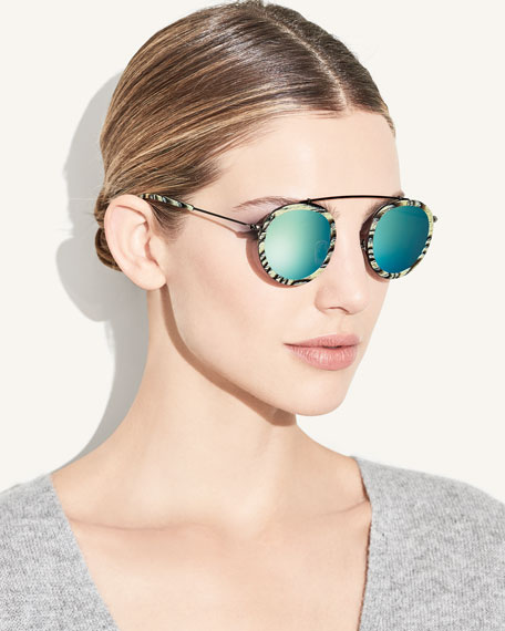 Conti Mirrored Round Aviator Sunglasses, Bone