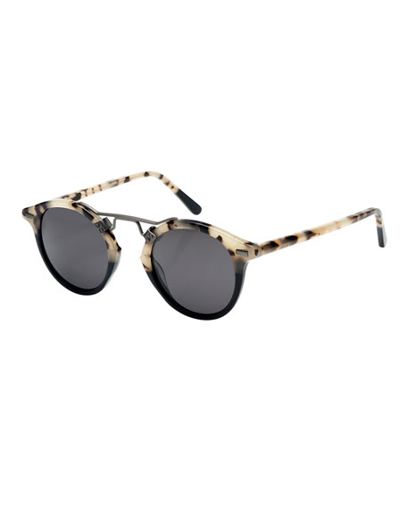 KREWE St. Louis Round Polarized Two-Tone Sunglasses, Oyster/Black