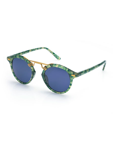 KREWE St. Louis Round Monochromatic Sunglasses, Ivy