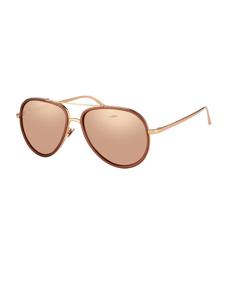 Linda Farrow Two-Tone Aviator Sunglasses, Rose Gold