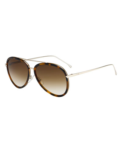 Trimmed Gradient Aviator Sunglasses, Havana