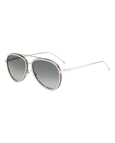Trimmed Gradient Aviator Sunglasses, Beige