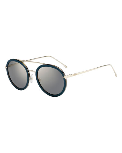 Trimmed Round Mirrored Sunglasses, Blue