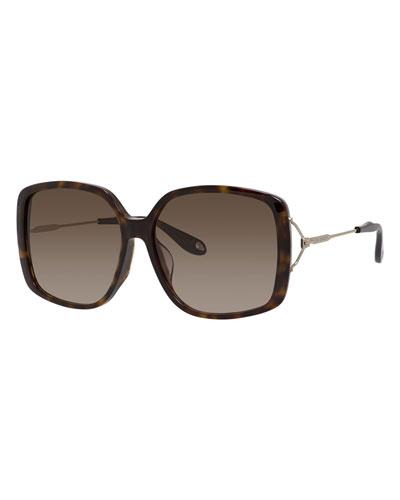 Gradient Square Sunglasses, Dark Havana
