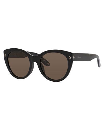 Monochromatic Cat-Eye Sunglasses, Black