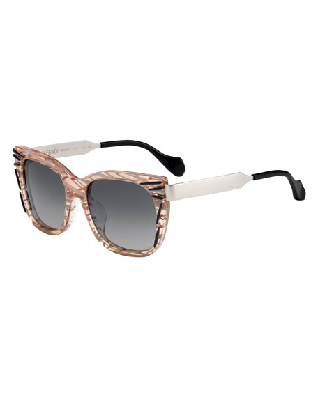 Streaked Square Sunglasses, Pink