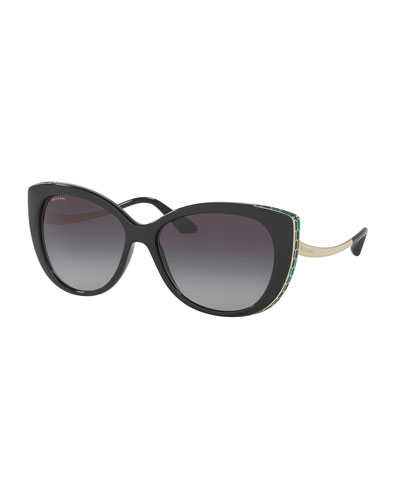 Etched Gradient Cat-Eye Sunglasses, Black
