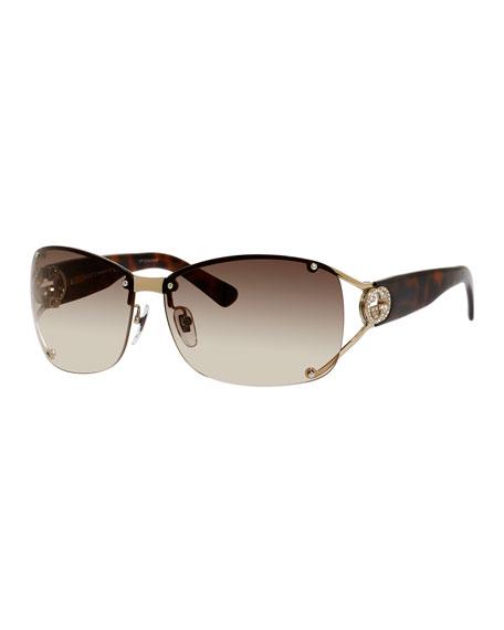 Rimless Logo-Temple Sunglasses, Light Gold/Havana