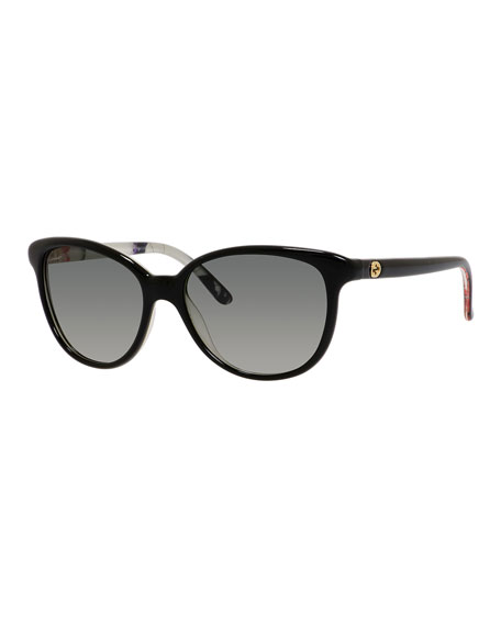 04f93644dd8 Gucci Sunsights Floral-Interior Oversized Cat-Eye Sunglasses