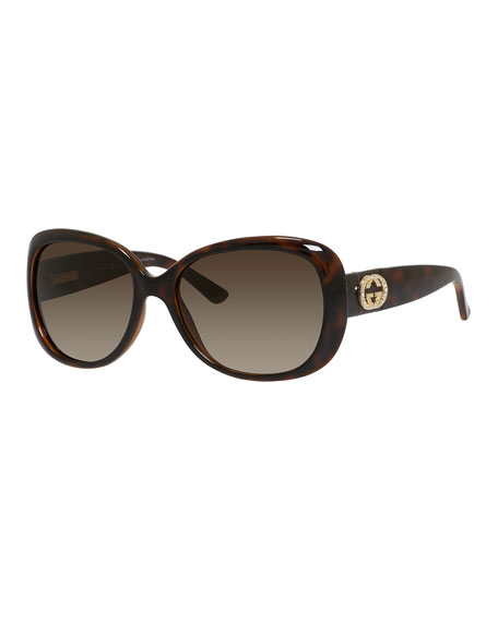 a35ac07245b Gucci Sunsights Rhinestone-Trim Oversized Butterfly Sunglasses