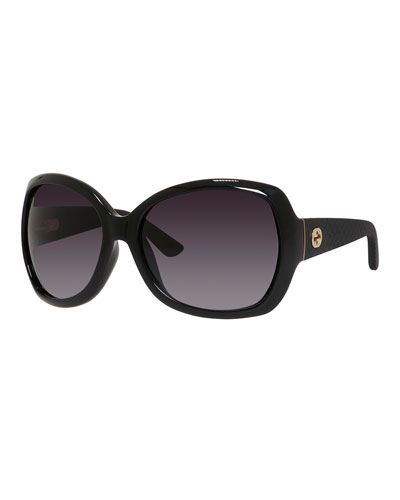 Oversized Diamantissima Square Sunglasses, Black