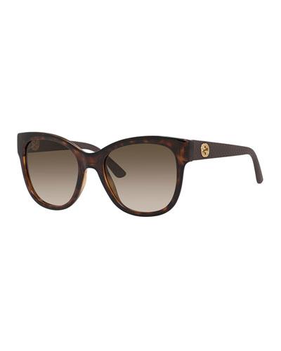 Gradient Diamantissima Cat-Eye Sunglasses, Havana