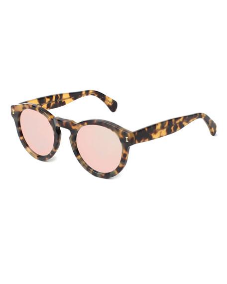 Leonard Round Mirrored Sunglasses, Tortoise/Rose