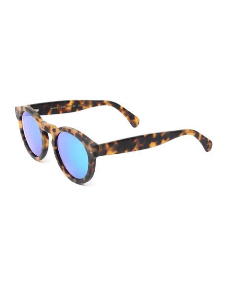 Leonard Round Mirrored Iridescent Sunglasses, Tortoise/Green
