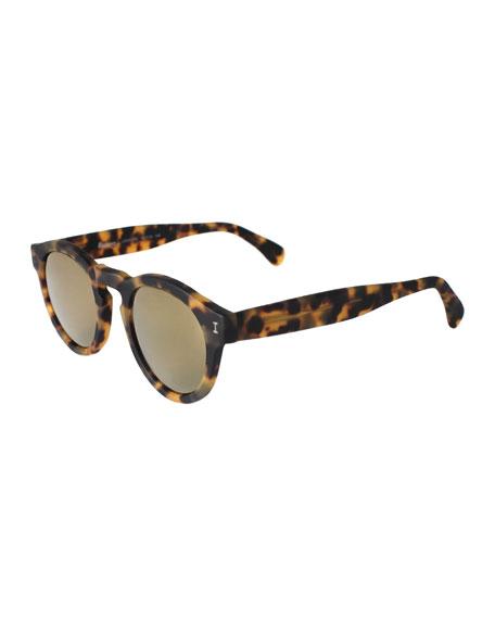 Leonard Round Mirrored Sunglasses, Tortoise/Gold