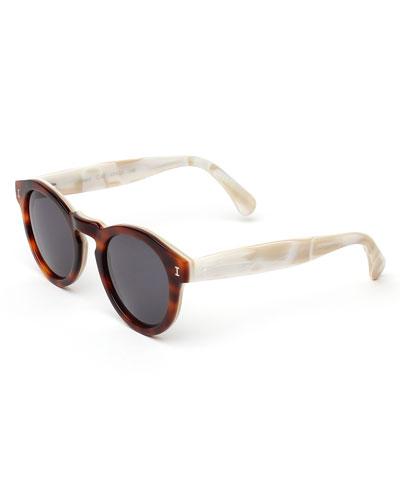 Leonard Round Two-Tone Sunglasses, Tortoise/Cream