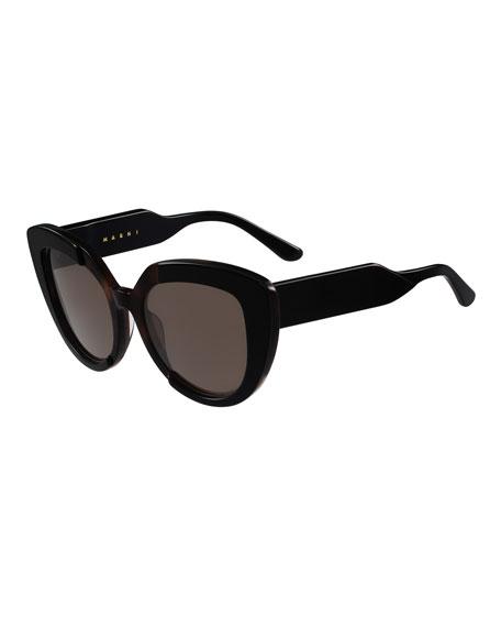 Marchon Eyewear Prisma Two-Tone Cat-Eye Sunglasses, Black/Brown