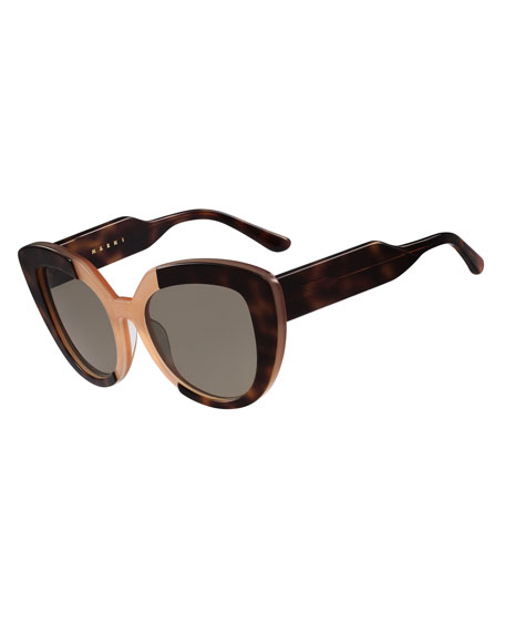 Marni Prisma Two-Tone Cat-Eye Sunglasses, Havana/Peach
