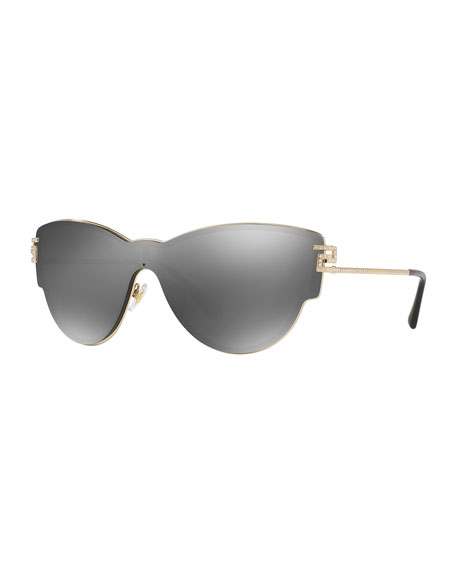 Mirrored Shield Cat-Eye Sunglasses, Gray