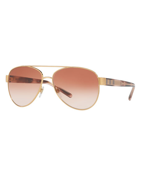 Gradient Check-Trim Aviator Sunglasses, Gold